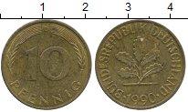 Изображение Дешевые монеты Германия 10 пфеннигов 1990 Латунь XF-