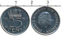 Изображение Дешевые монеты Нидерланды 25 центов 1980 Медно-никель XF