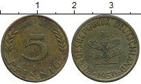Изображение Дешевые монеты Германия 5 пфеннигов 1950 Латунь XF-