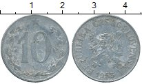 Изображение Дешевые монеты Чехословакия 10 хеллеров 1955 Алюминий VF
