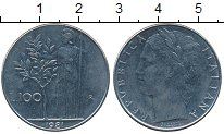 Изображение Дешевые монеты Италия 100 лир 1981 Медно-никель XF-