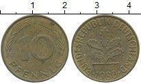 Изображение Дешевые монеты Германия 10 пфеннигов 1980 Латунь VF+
