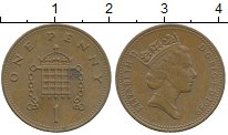 Изображение Дешевые монеты Великобритания 1 пенни 1989 Бронза XF