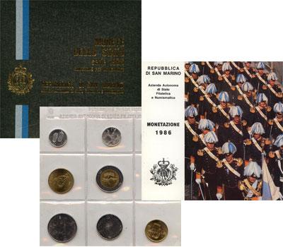 Изображение Подарочные монеты Сан-Марино Набор 1986 года 1986  UNC