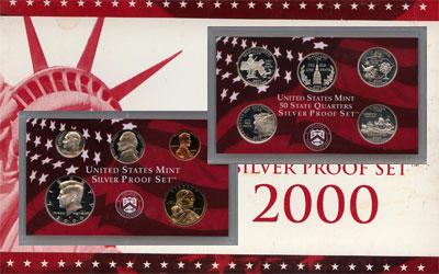 Изображение Подарочные монеты Северная Америка США Серебряные четвертаки 2000 2000 Серебро Proof