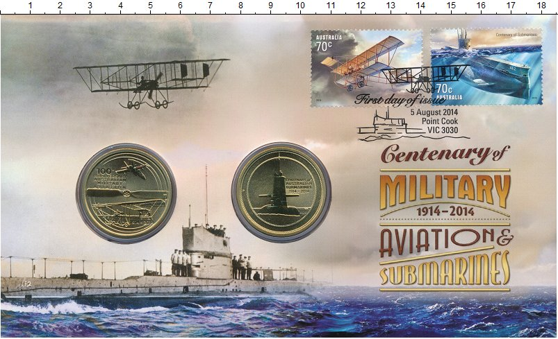 Изображение Подарочные монеты Австралия 1 доллар 2014 Латунь UNC