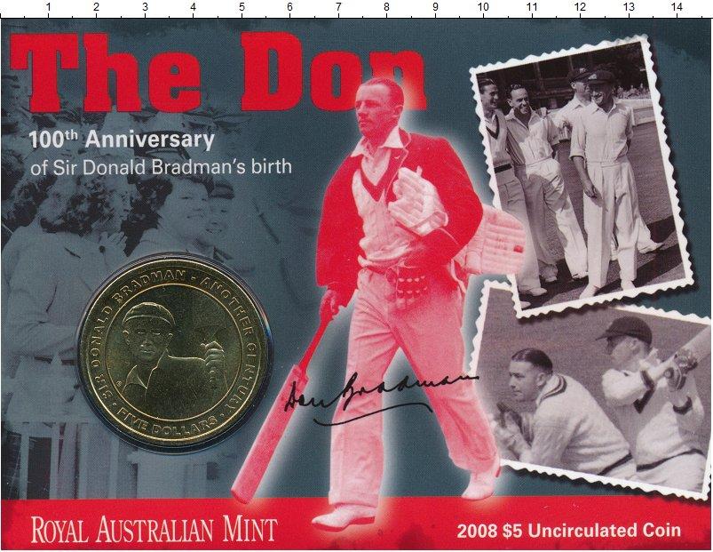 Изображение Подарочные монеты Австралия 5 долларов 2008 Латунь UNC