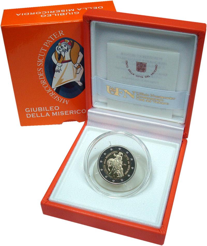 Изображение Подарочные монеты Европа Ватикан 2 евро 2016 Серебро Proof