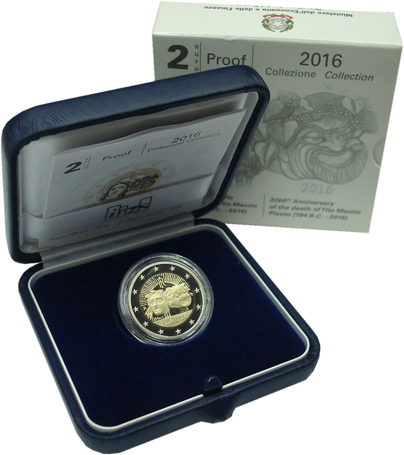 Изображение Подарочные монеты Италия 2 евро 2016 Биметалл Proof