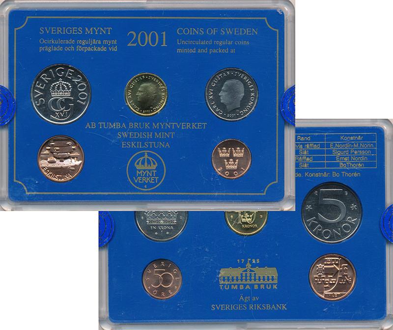 Изображение Подарочные монеты Европа Швеция Набор 2001 года 2001  Proof