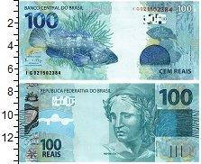 """Изображение Банкноты Бразилия 100 реалов 2010  UNC Скульптура """"Республи"""