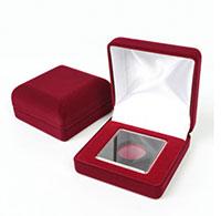 Изображение Аксессуары для монет Бархат Подарочный футляр для монеты в капсуле Quadrum (№3) 0   Флокированный футляр
