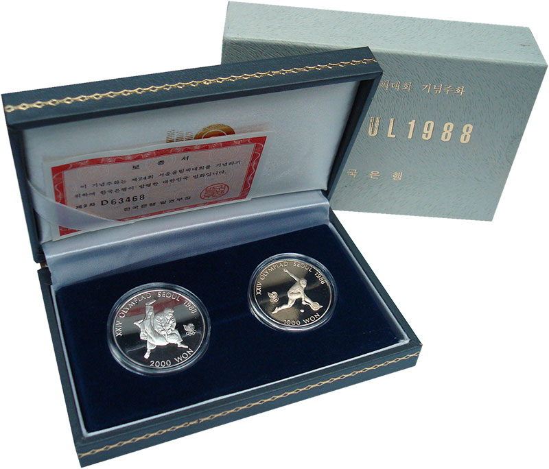 Изображение Подарочные монеты Азия Южная Корея Олимпиада в Сеуле 1987 Медно-никель Proof