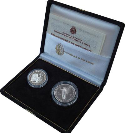 Изображение Подарочные монеты Сан-Марино Рафаэль Санти UNC 1983 Серебро UNC