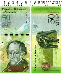 Изображение Банкноты Венесуэла 50 боливар 2015  UNC Симон Родригес. Медв