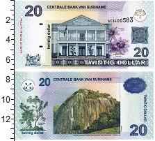 Изображение Банкноты Суринам 20 долларов 2004  UNC Гора. Дом