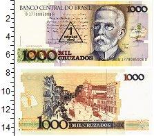 Изображение Банкноты Бразилия 1 крузадо 1989  UNC Надпечатка на 1000 к