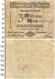 Изображение Банкноты Веймарская республика 3000000 марок 1923  VF