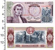 Изображение Банкноты Колумбия 10 песо 1980  UNC