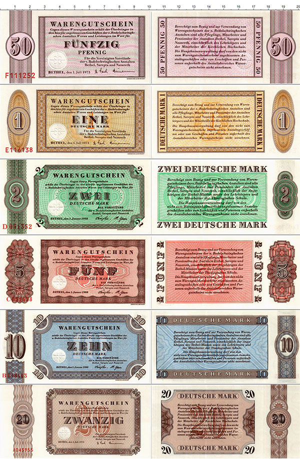 Изображение Банкноты ФРГ Набор из 6 бон 1973  UNC