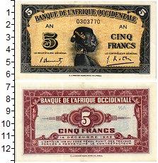 Изображение Банкноты Французская Западная Африка 5 франков 1942  XF+