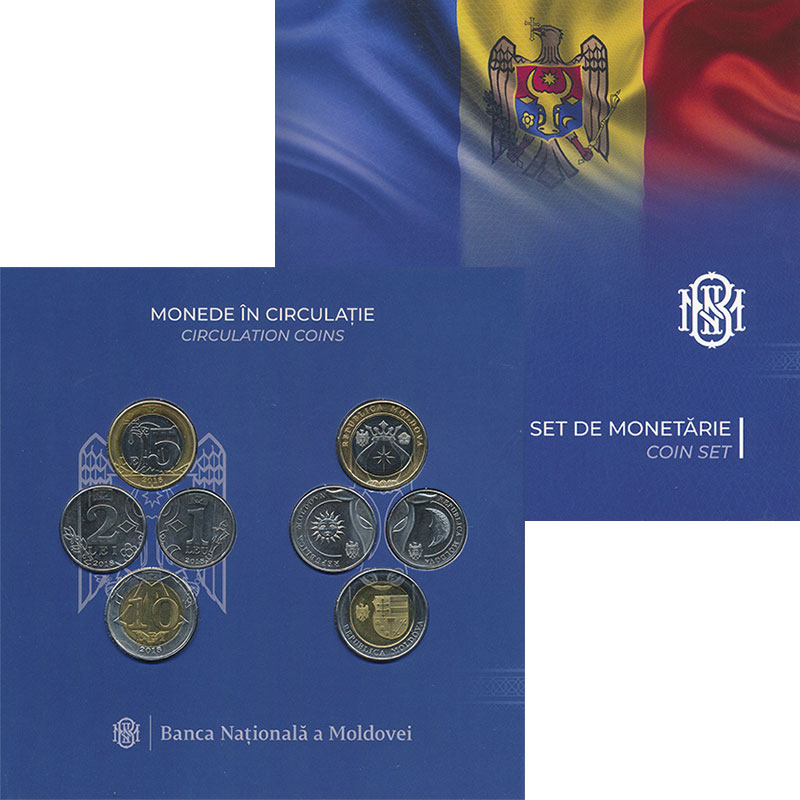 Изображение Подарочные монеты Молдавия Набор 2018 года 2018 Биметалл UNC