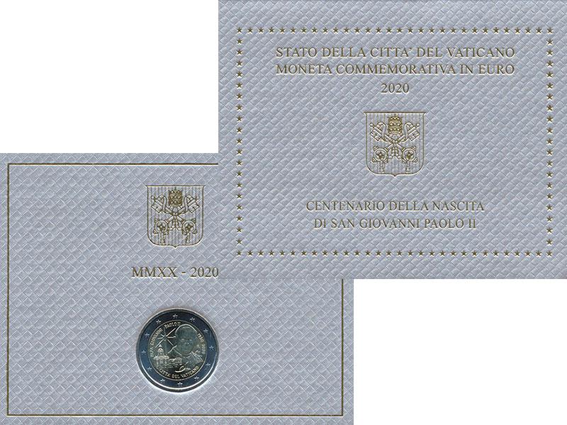 Изображение Подарочные монеты Ватикан 2 евро 2020 Биметалл UNC
