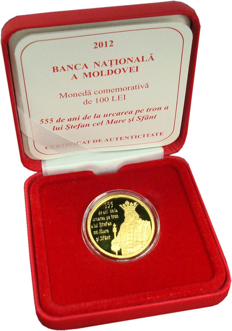 Изображение Монеты Молдавия 100 лей 2012  Proof- Король Стефан 555 ле