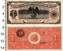Изображение Банкноты Мексика 1 песо 1914  XF Конституционная арми