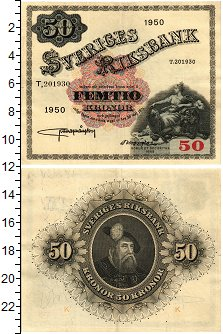 Изображение Банкноты Швеция 50 крон 1950  XF Густав Ваза