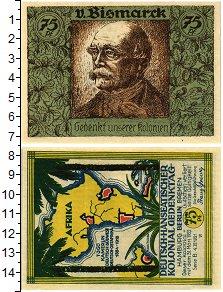 Изображение Банкноты Германия : Нотгельды 75 пфеннигов 1921  XF Отто Бисмарк. Африка