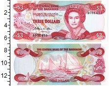 Изображение Банкноты Багамские острова 3 доллара 1974  UNC Портрет королевы Ели