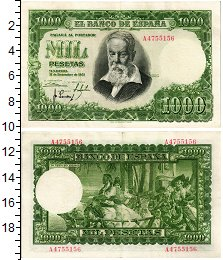 Изображение Банкноты Испания 1000 песет 1951  XF-