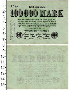 Изображение Банкноты Веймарская республика 100000 марок 1923  XF