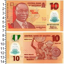 Изображение Банкноты Нигерия 10 найра 2011 Пластик UNC