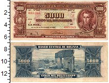 Изображение Банкноты Боливия 5000 боливиано 1945  VF+