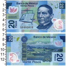 Изображение Банкноты Мексика 20 песо 2016 Пластик UNC Портрет Б. Хуареса.