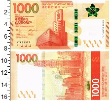 Изображение Банкноты Гонконг 1000 долларов 2018  UNC Standart Chartered B