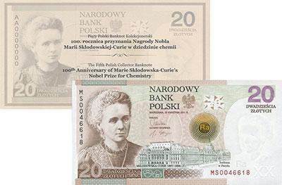 Изображение Банкноты Польша 20 злотых 2011  UNC Мария Склодовская -