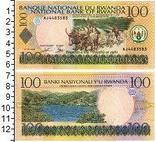 Изображение Банкноты Руанда 100 франков 2003  UNC Землепашец  и бык. В