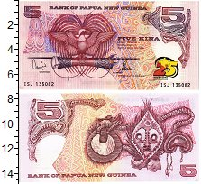 Изображение Банкноты Папуа-Новая Гвинея 5 кин 2000  UNC 25 лет независимости