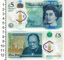 Изображение Банкноты Великобритания 5 фунтов 2015 Пластик UNC