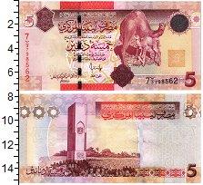 Изображение Банкноты Ливия 5 динар 0  UNC Верблюды.