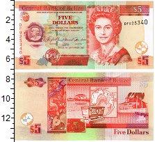 Изображение Банкноты Белиз 5 долларов 2007  UNC Портрет Елизаветы II