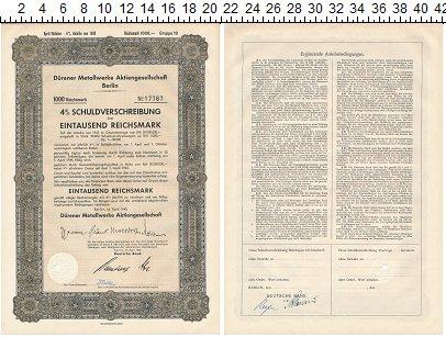 Изображение Банкноты Третий Рейх 1000 марок 1943  XF+ 4% Облигация