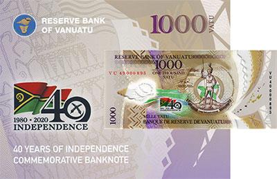 Изображение Банкноты Вануату 1000 вату 2020 Пластик UNC