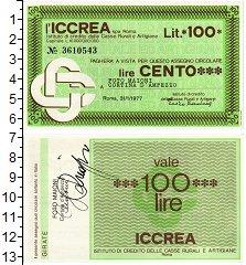 Изображение Банкноты Италия 100 лир 1977  UNC Банковский чек