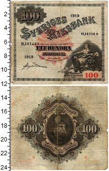 Изображение Банкноты Швеция 100 крон 1919  VF На обороте Густав Ва