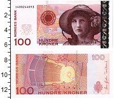 Изображение Банкноты Норвегия 100 крон 1995  UNC Оперная певица Камил