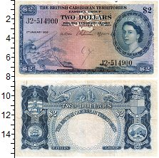 Изображение Банкноты Карибы 2 доллара 1958  VF